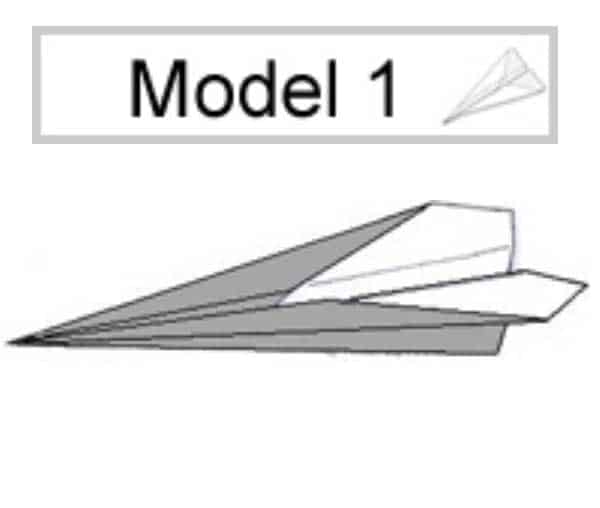Papieren vliegtuig vouwen: model 1